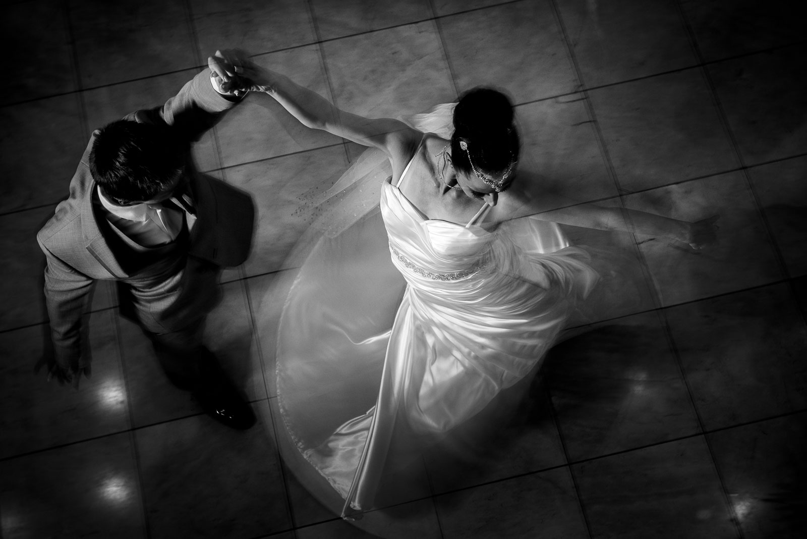 Newlyweds swirl in dance