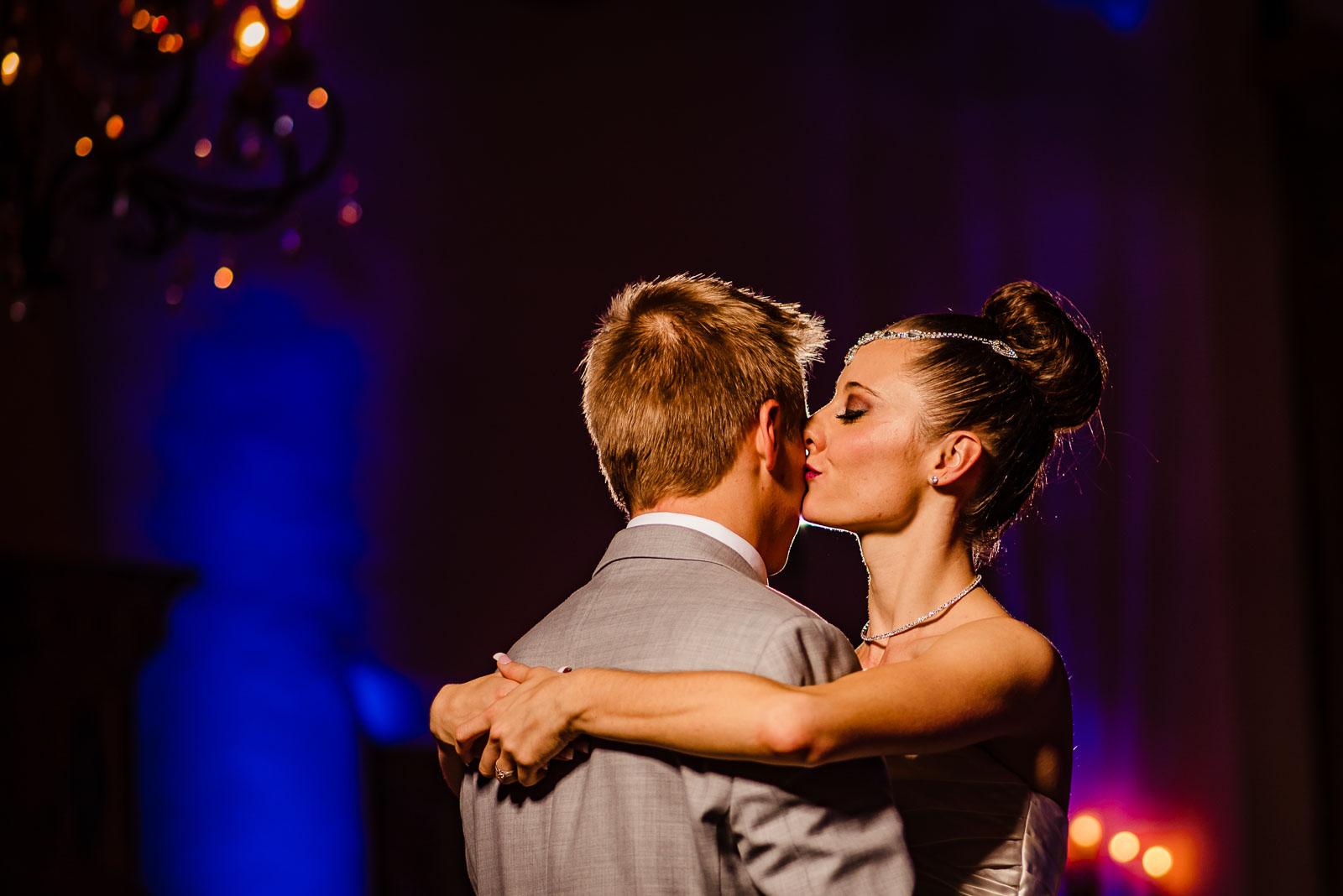 Bride kisses groom
