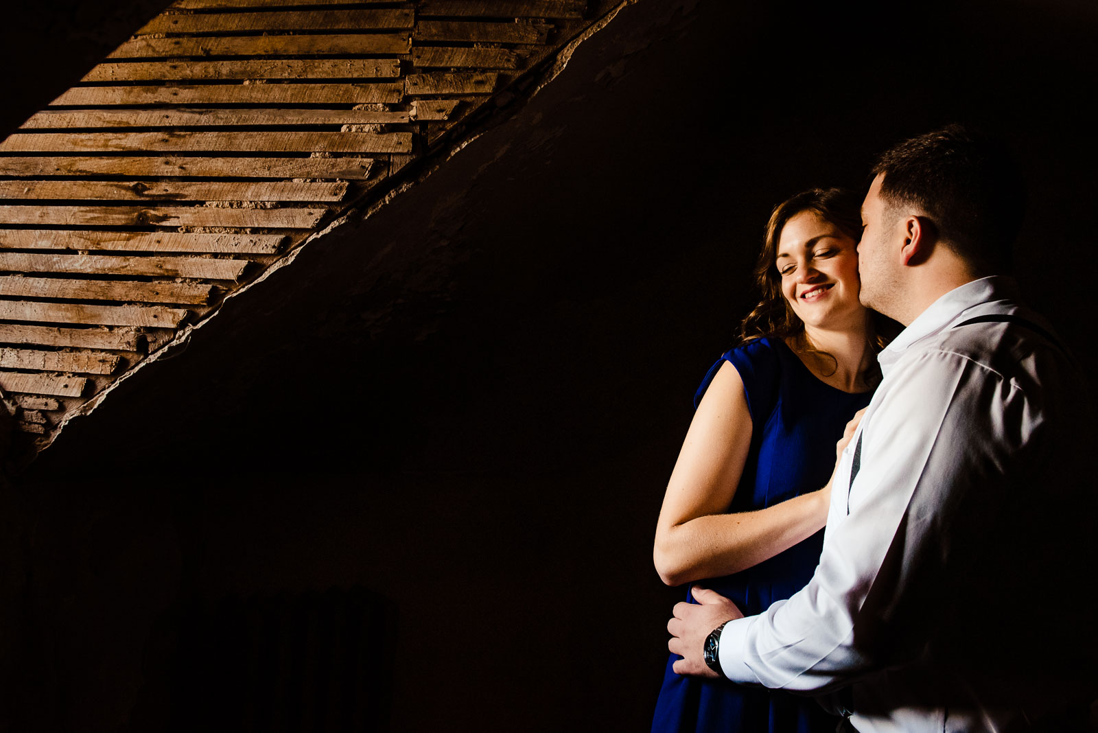 Couple's portrait on the attic