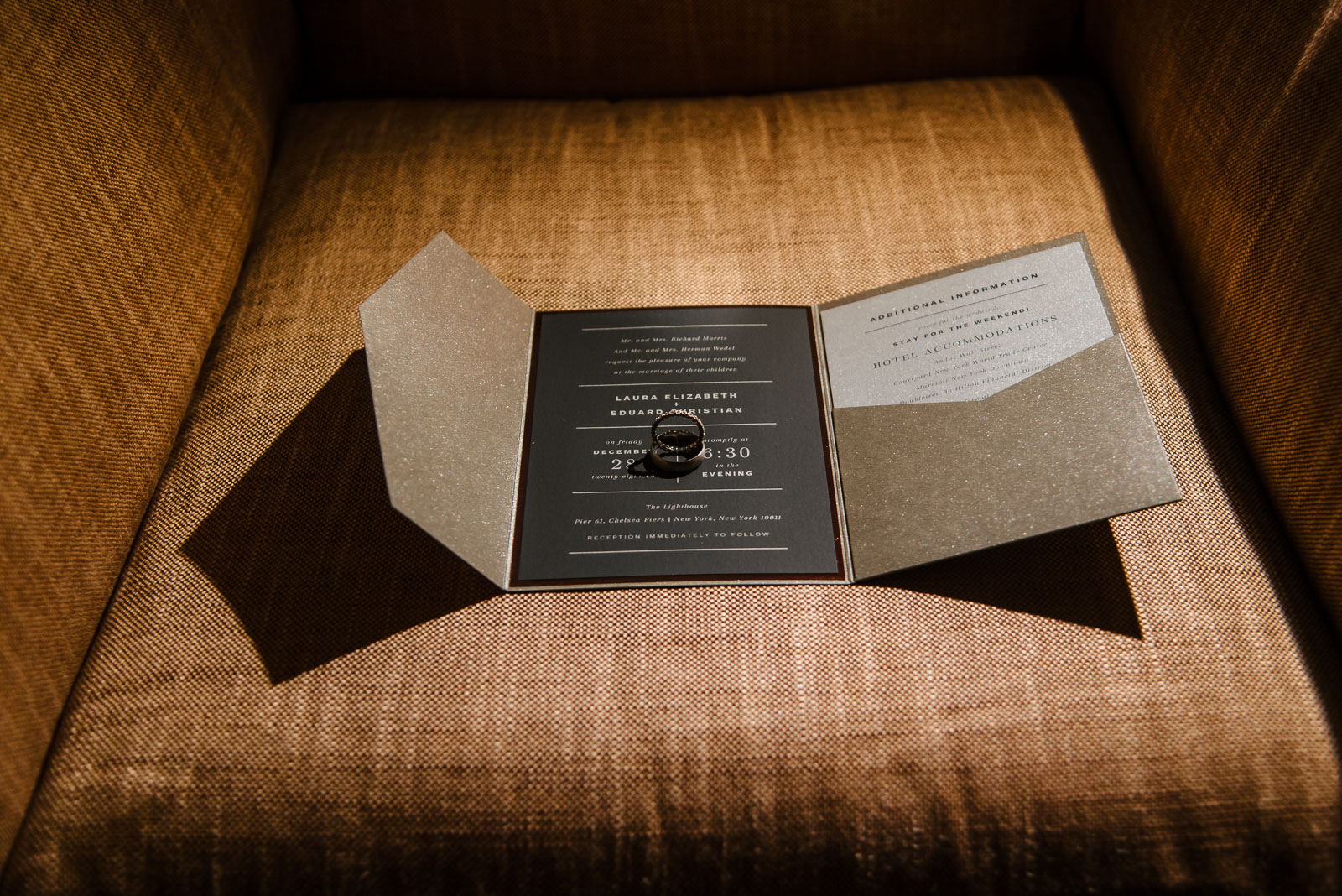 Invitation cards and wedding rings