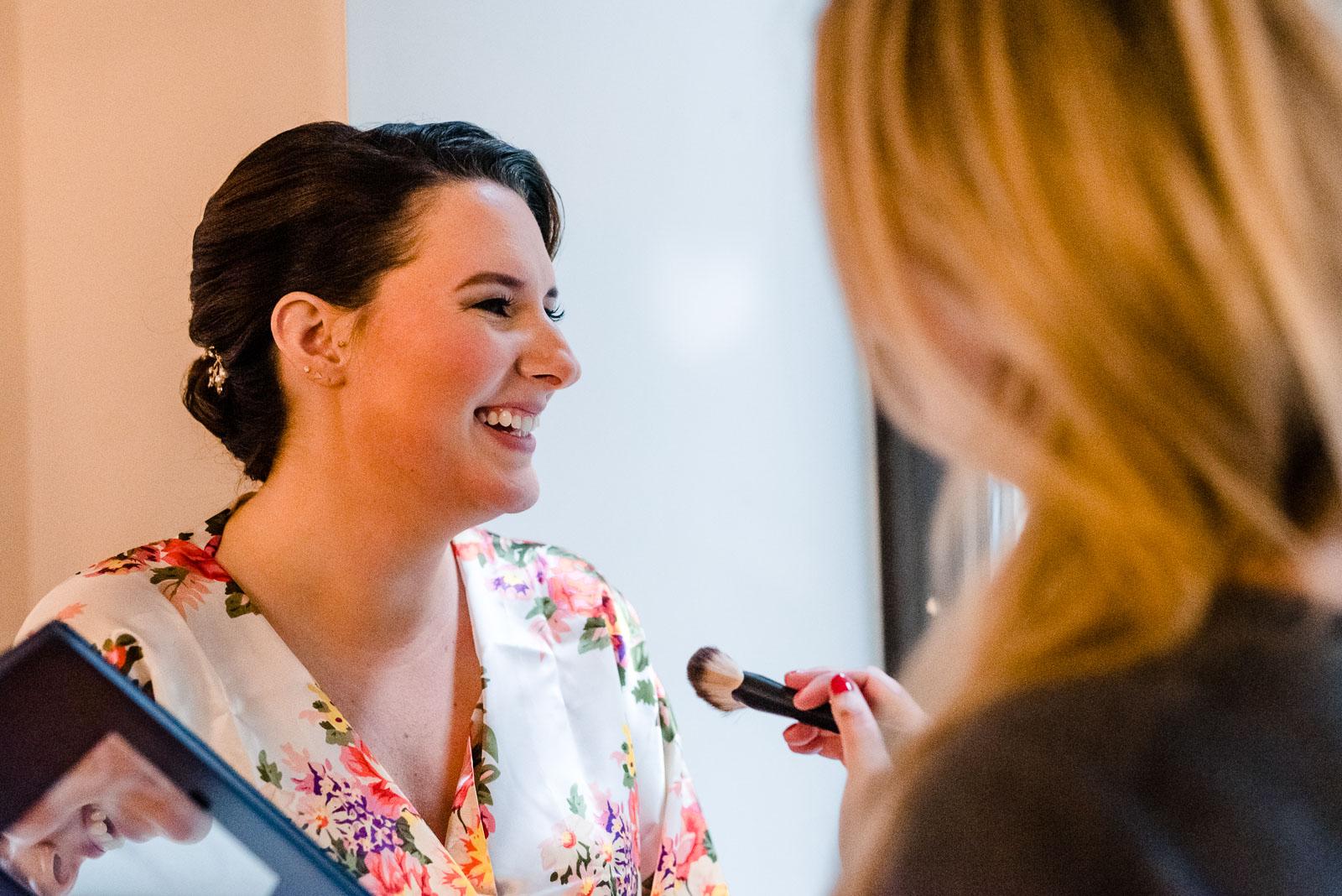 Bride gets her makeup done