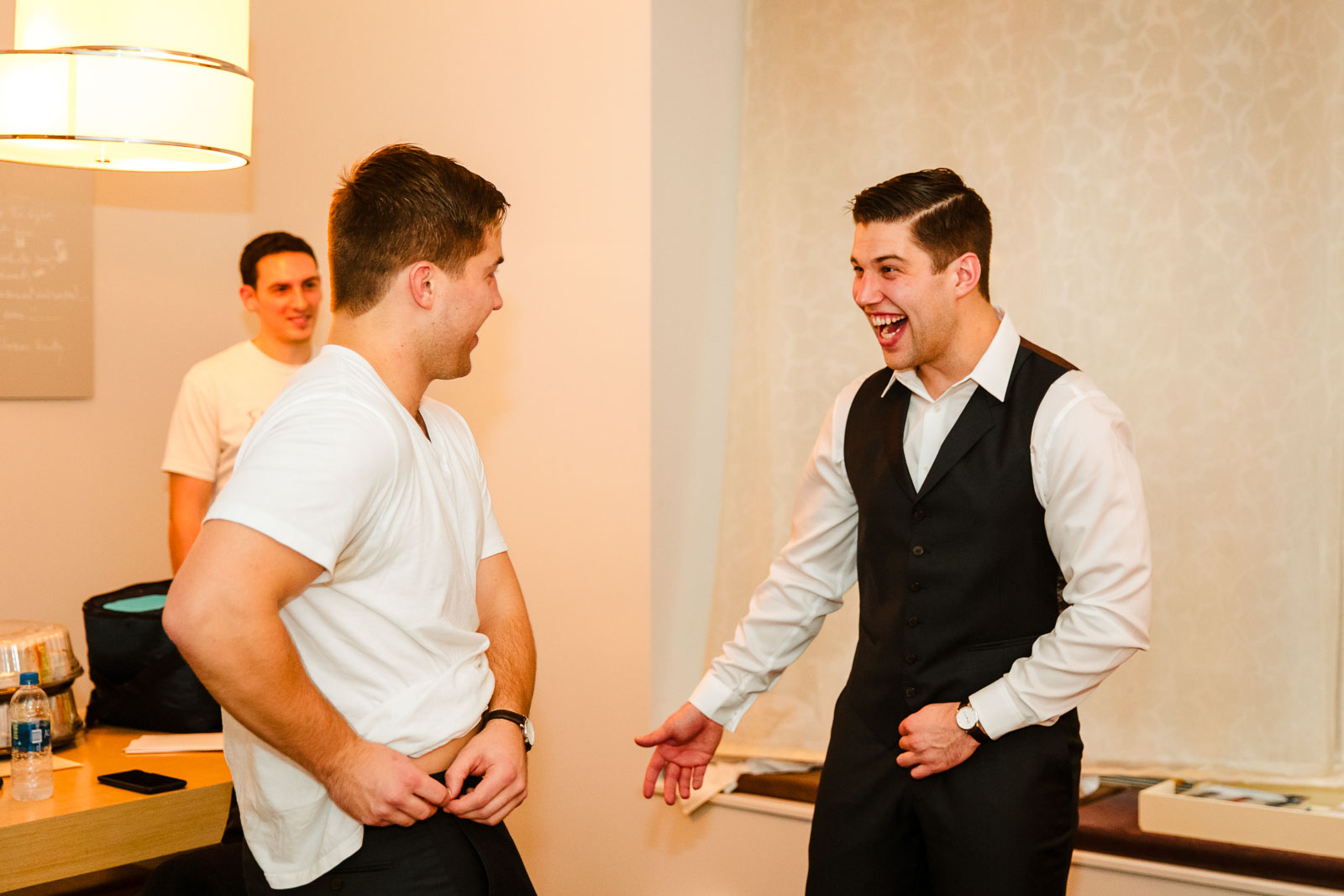 Groom and his brother get ready at Andaz Hotel on Wall Street