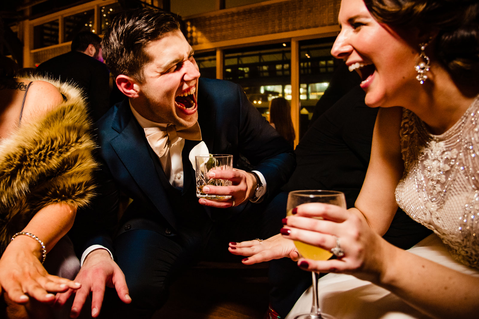 Bride and groom having a blast