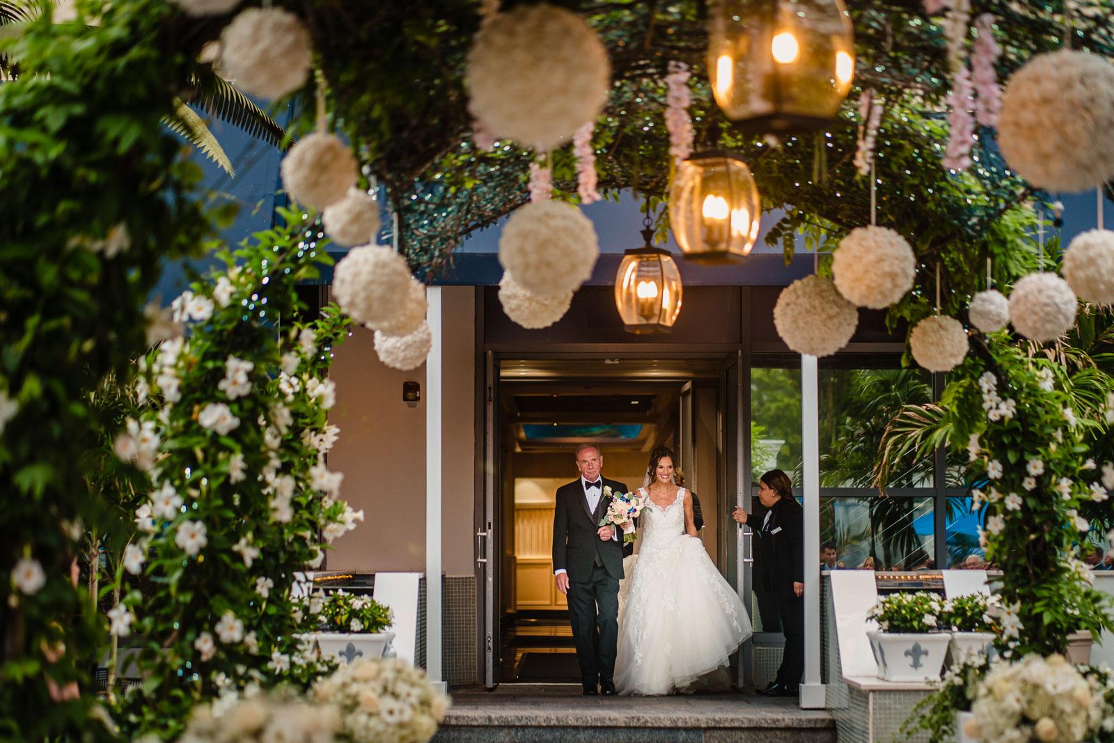 wedding ceremony bride and her dad