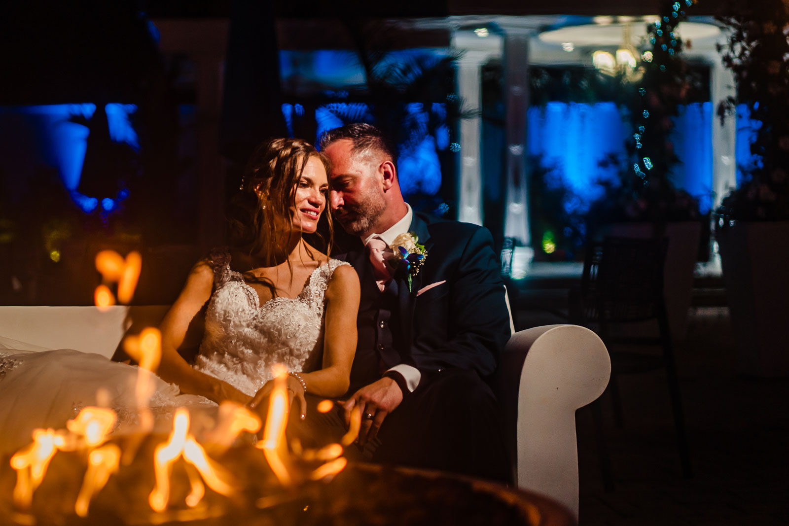 Bride and groom fire portrait