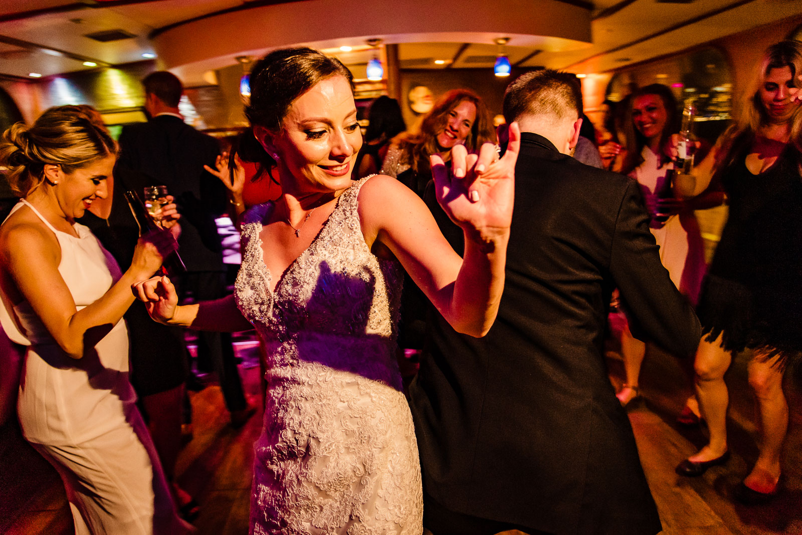 Bride dances during reception