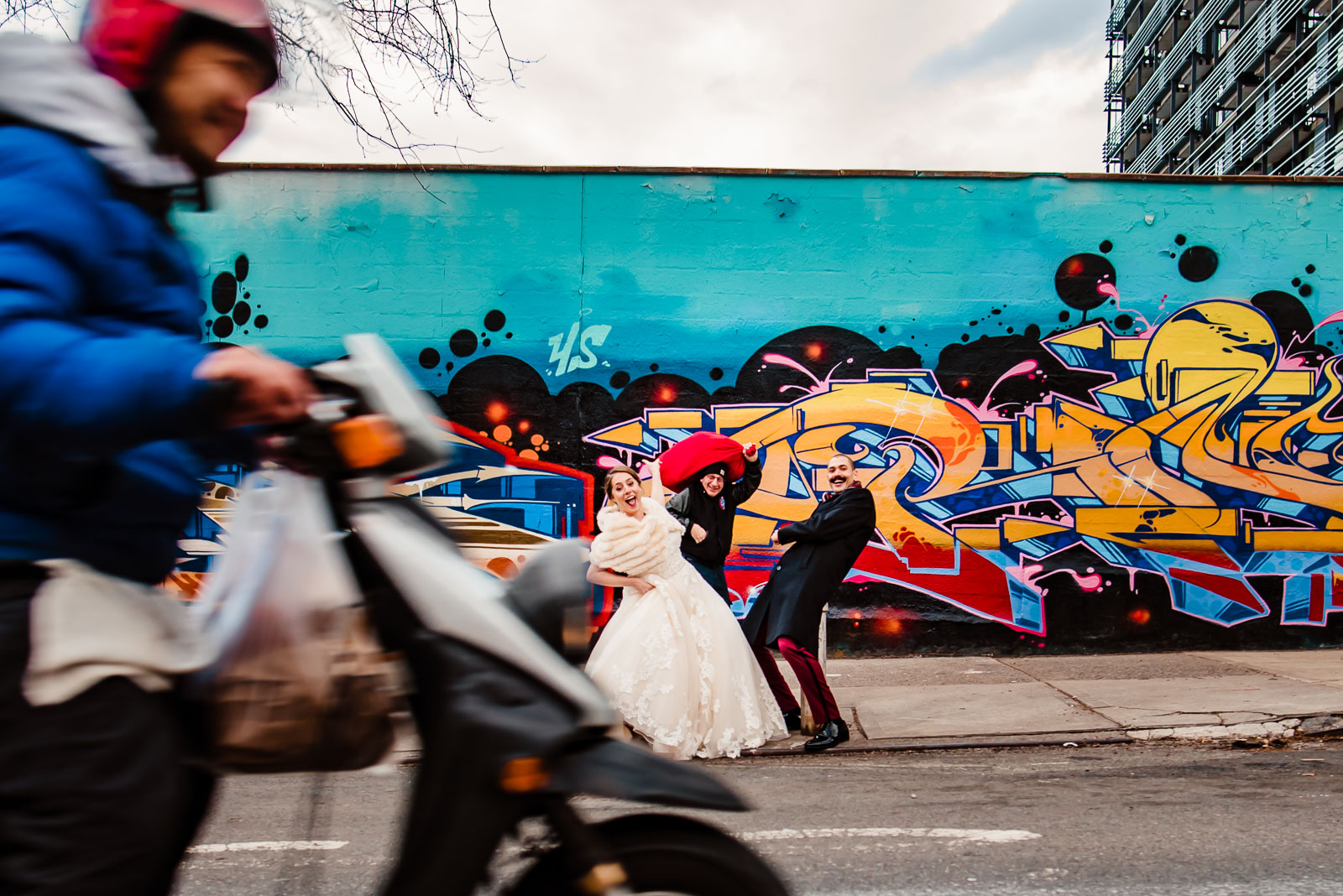 bride and groom passerby and motorcycle