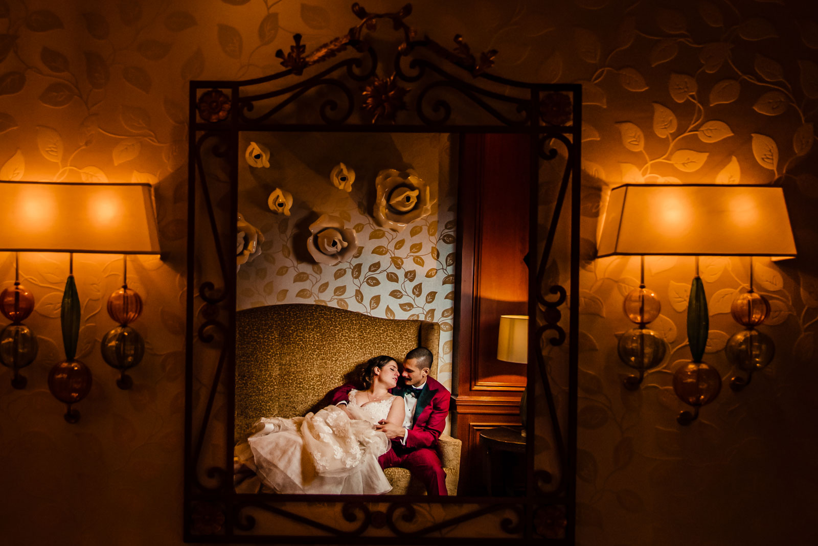 Bride and groom portrait at Russo's on The Bay