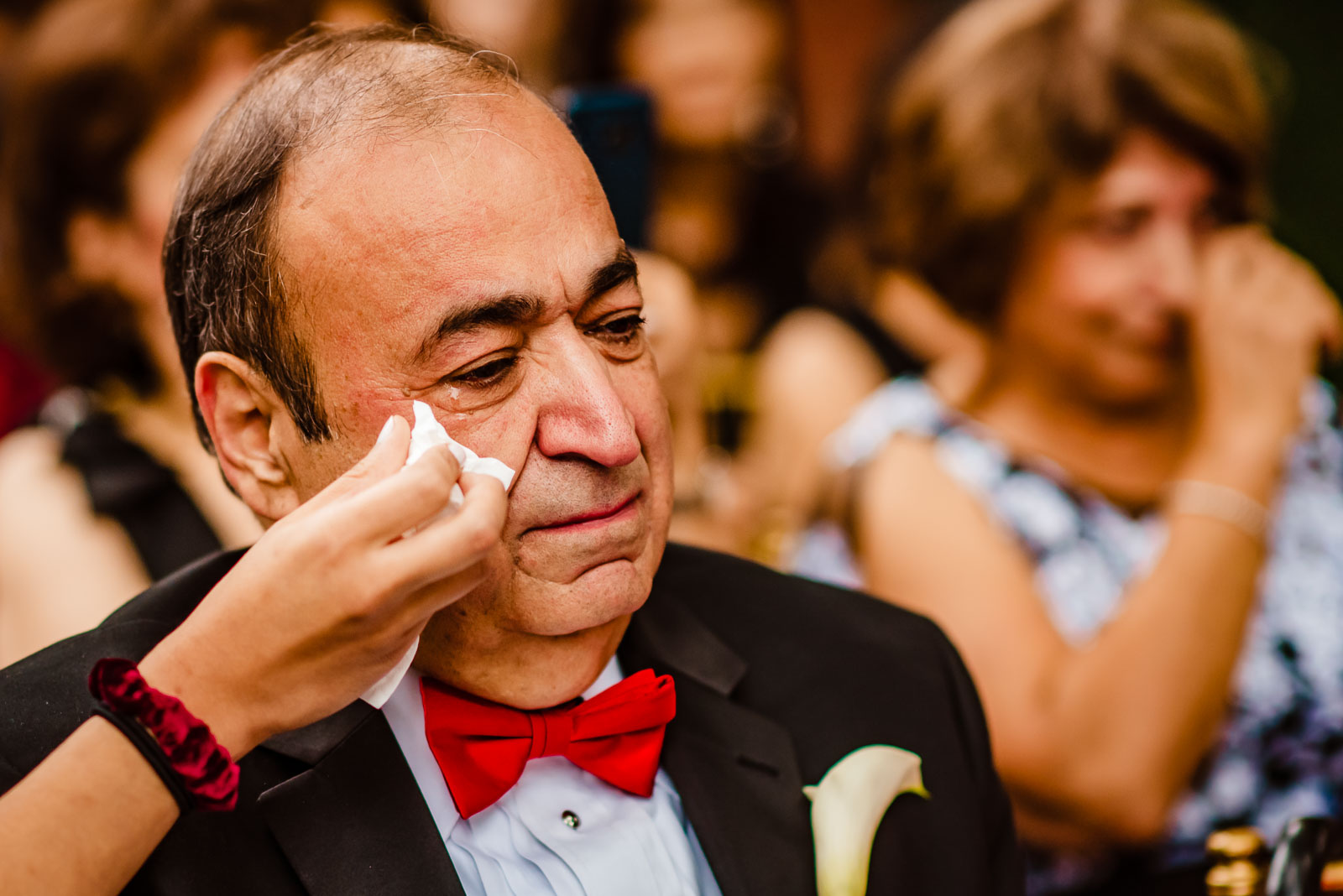 Father of groom sheds a tear