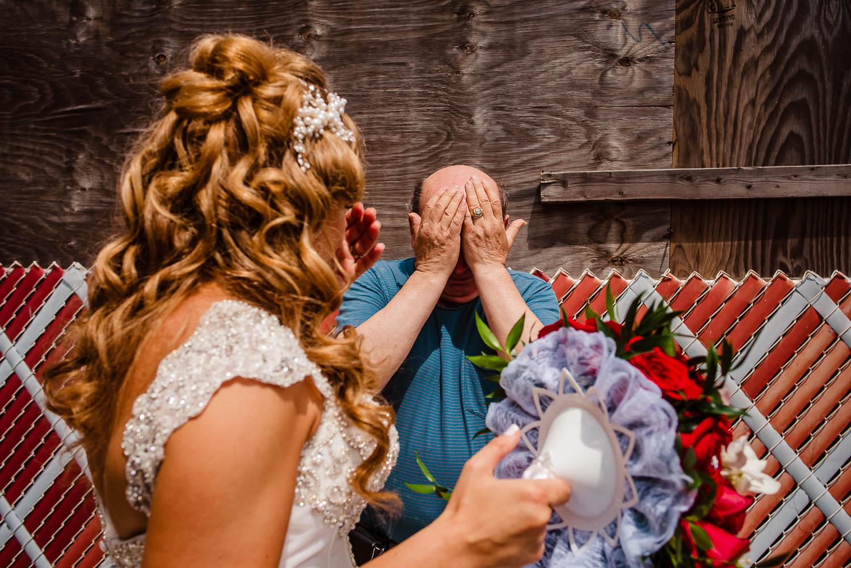 NYC wedding bride and dad cry