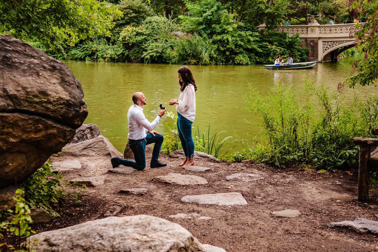 Wedding proposal new Bow Bridge in Central Park