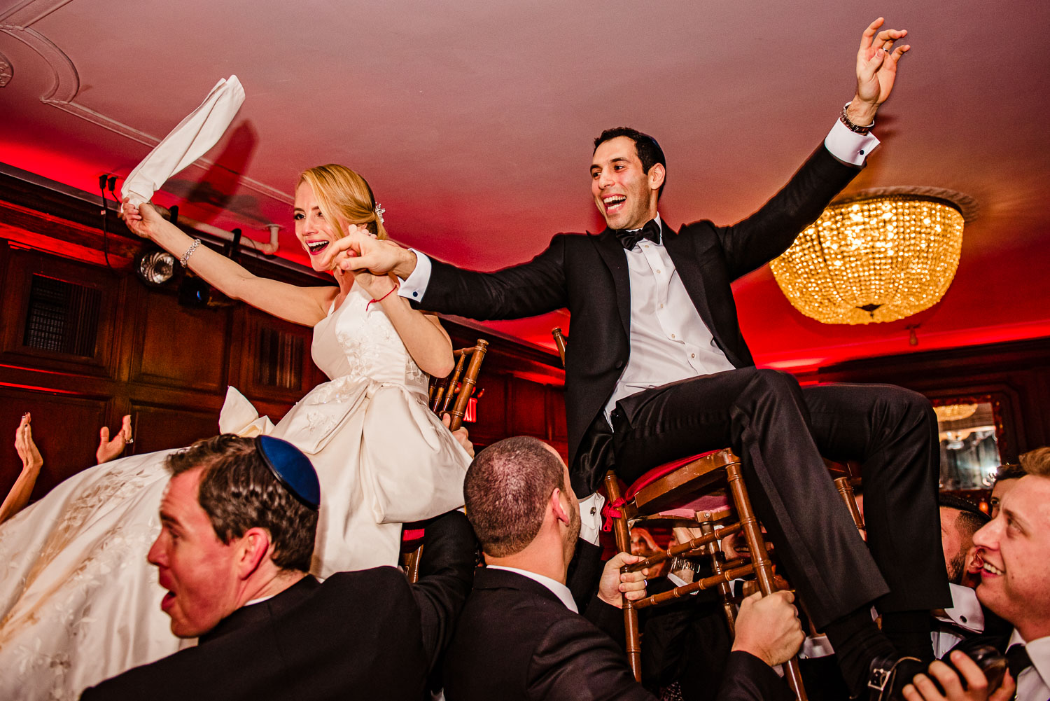 Bride and Groom hora chair dance