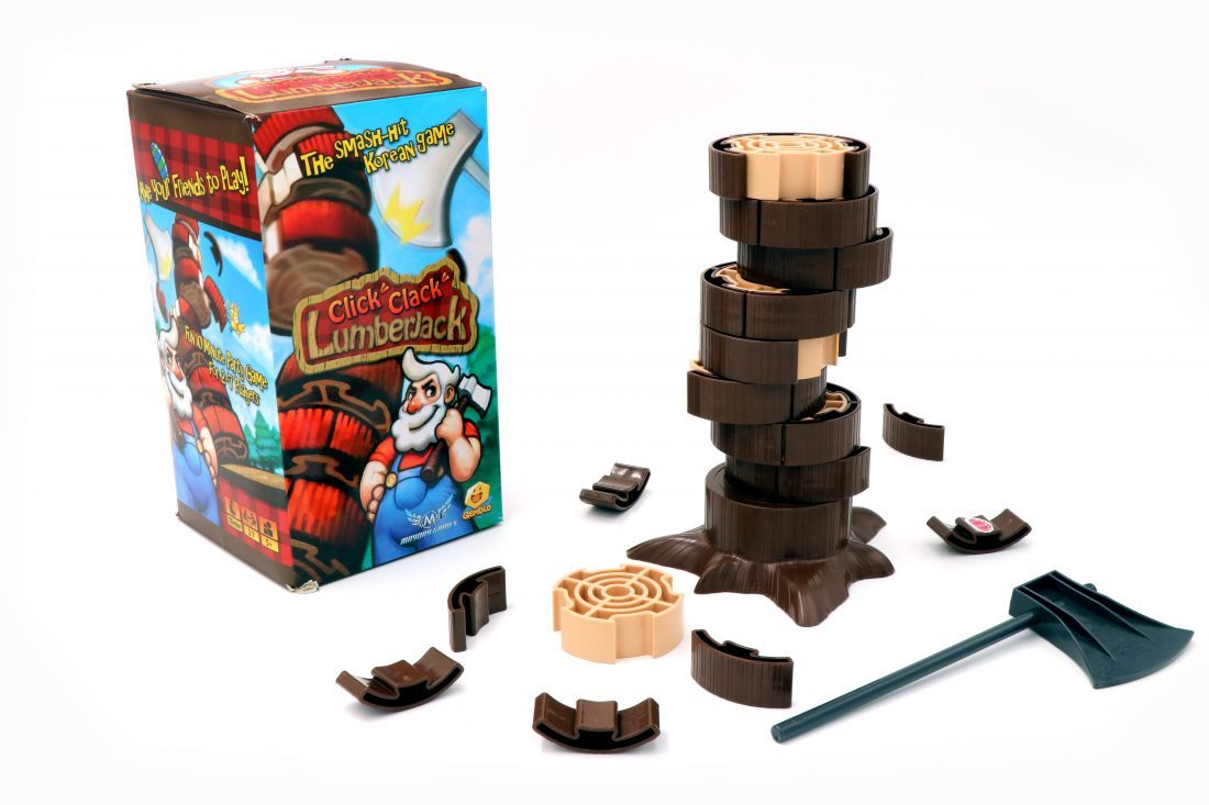 Click Clack Lumberjack - Click Clack Lumberjack takes about 15 seconds to learn and the play time varies from a few seconds to around 20 minutes. In this game, the goal is simple: Gather as much wood as possible without knocking the tree down. You'll be given an Axe and two wacks per turn but be careful, if you hit it too hard you could knock down the cores of the trees which are negative points! While this game might not be ideal for a restaurant, it's kind of perfect for a bar or a party. It's a great game to play with children or drunk adults, which are functionally the game thing. Think of this game as Jenga extreme!