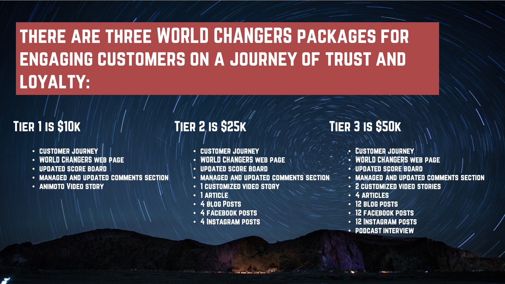 World Changers Packages