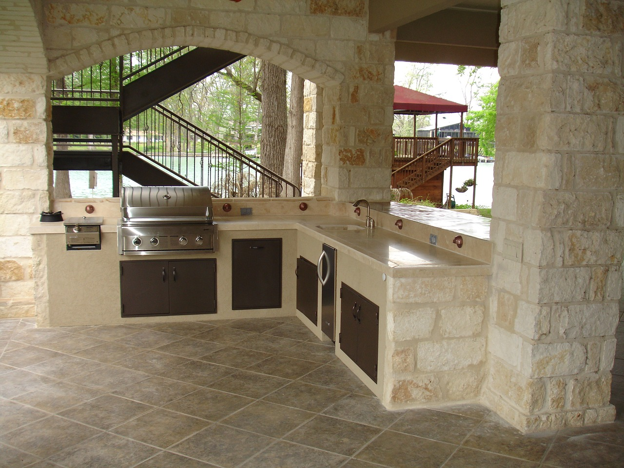 outdoor kitchens are unique per each space available - it gives the opportunity for homeowners to be creative with their design and material used.
