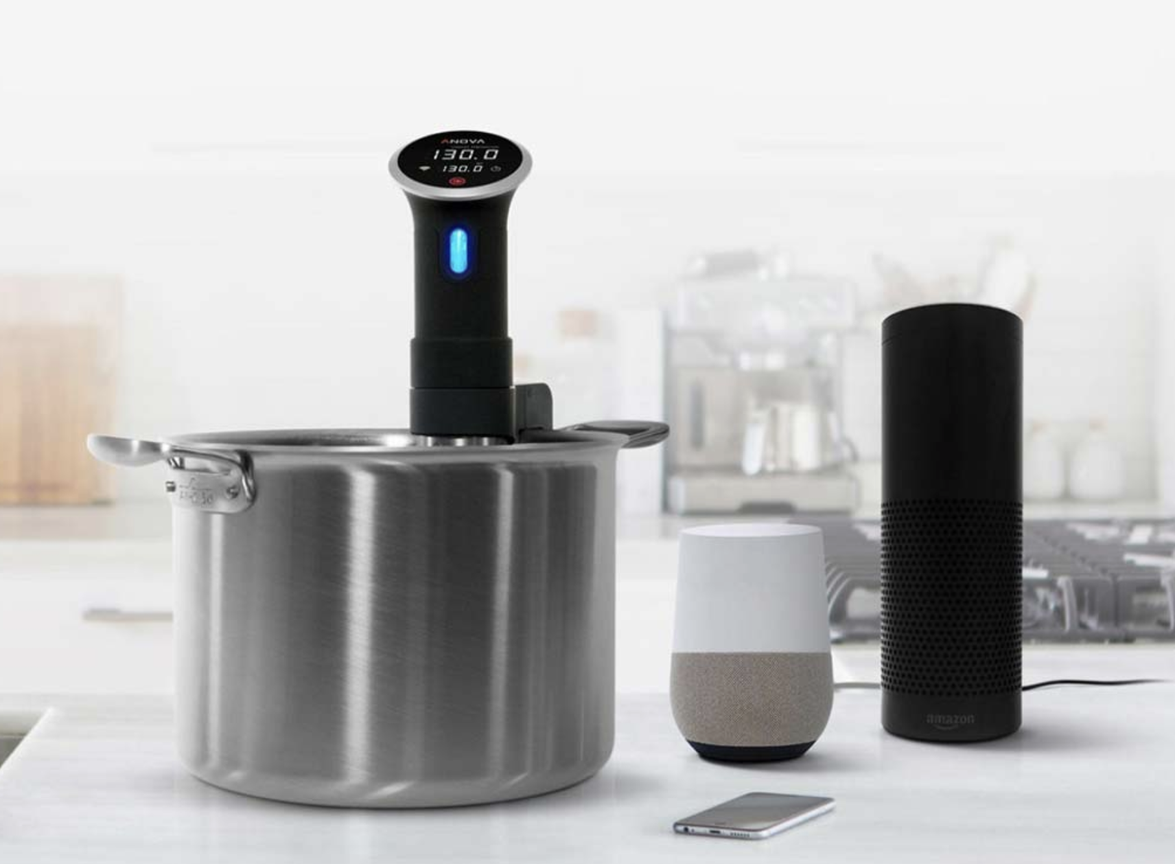the anova wifi sous vide precision cooker makes cooking easier and hands free.