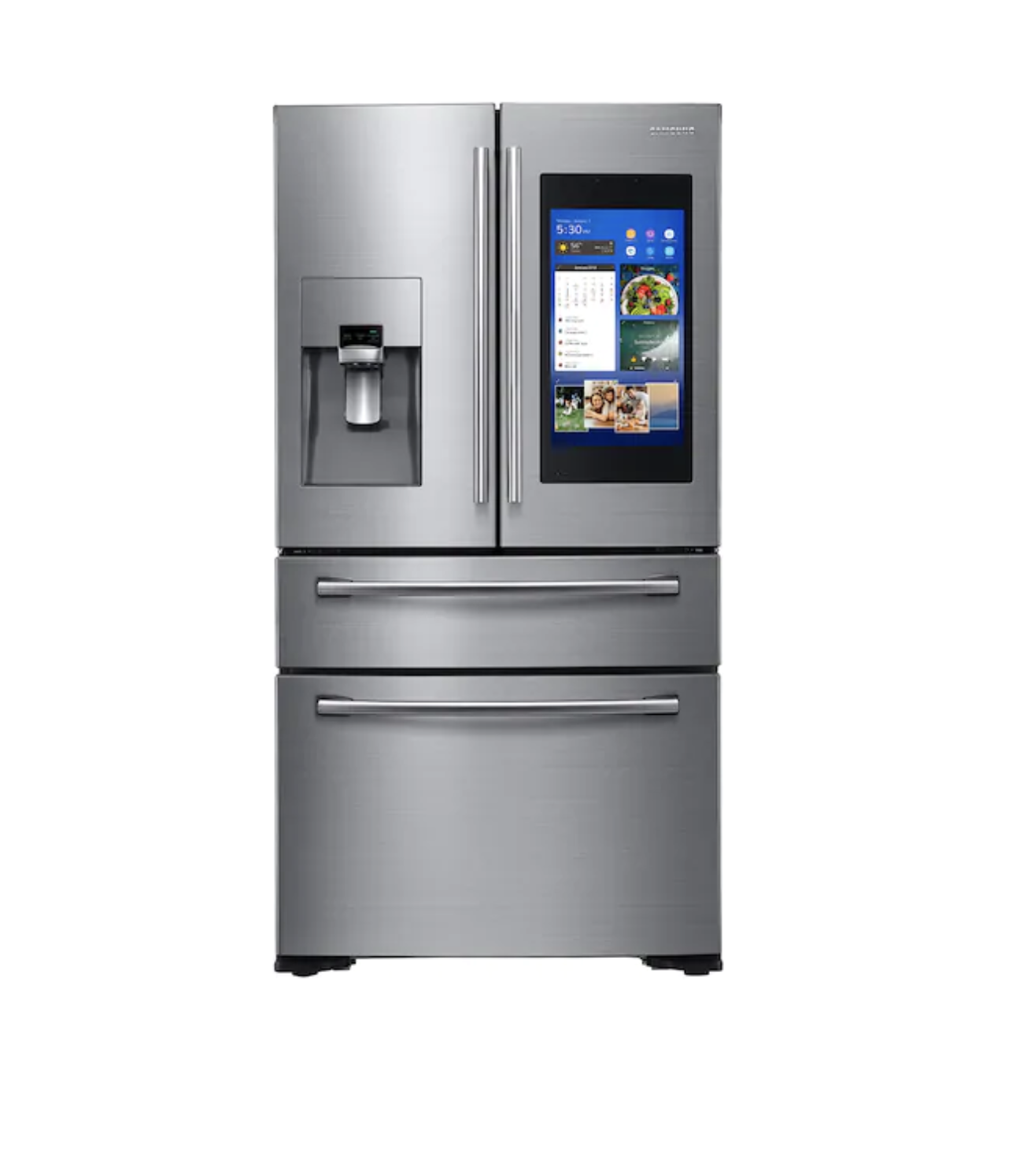 Never miss a thing with this Samsung connected touch screen fridge.