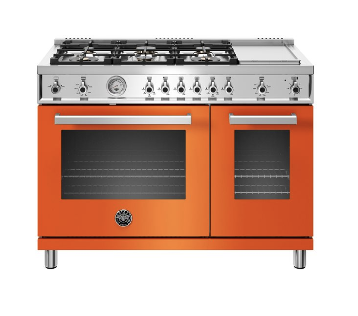 "bertazzoni's 48"" all-gas range  offers different colored panels such as black, white, yellow, orange, and red to liven up your space"