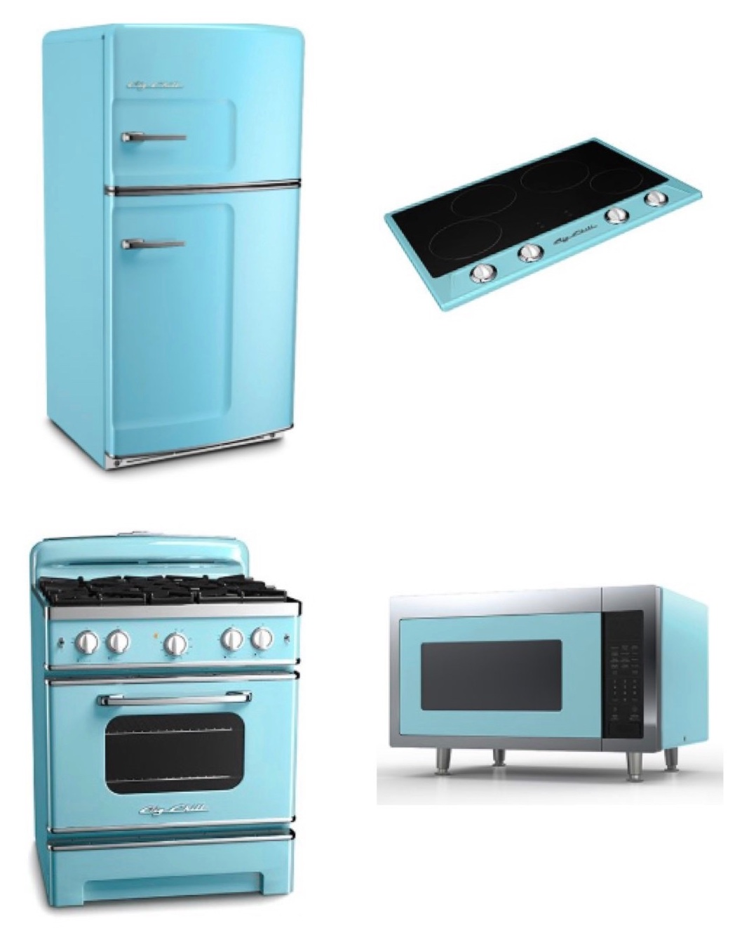 big chill's retro collection  is the dream for a retro fans - including a fridge, stove. range hood, microwave, and drop-in stovetop.