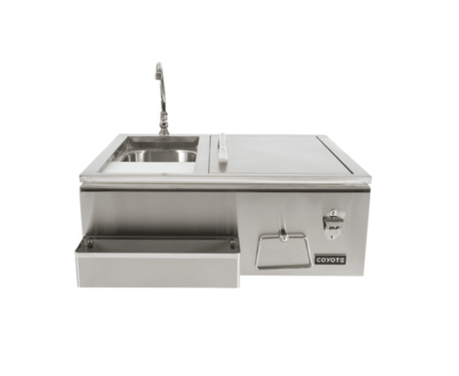 all-in-one sink by coyote. equipped with a cooler and shelf.