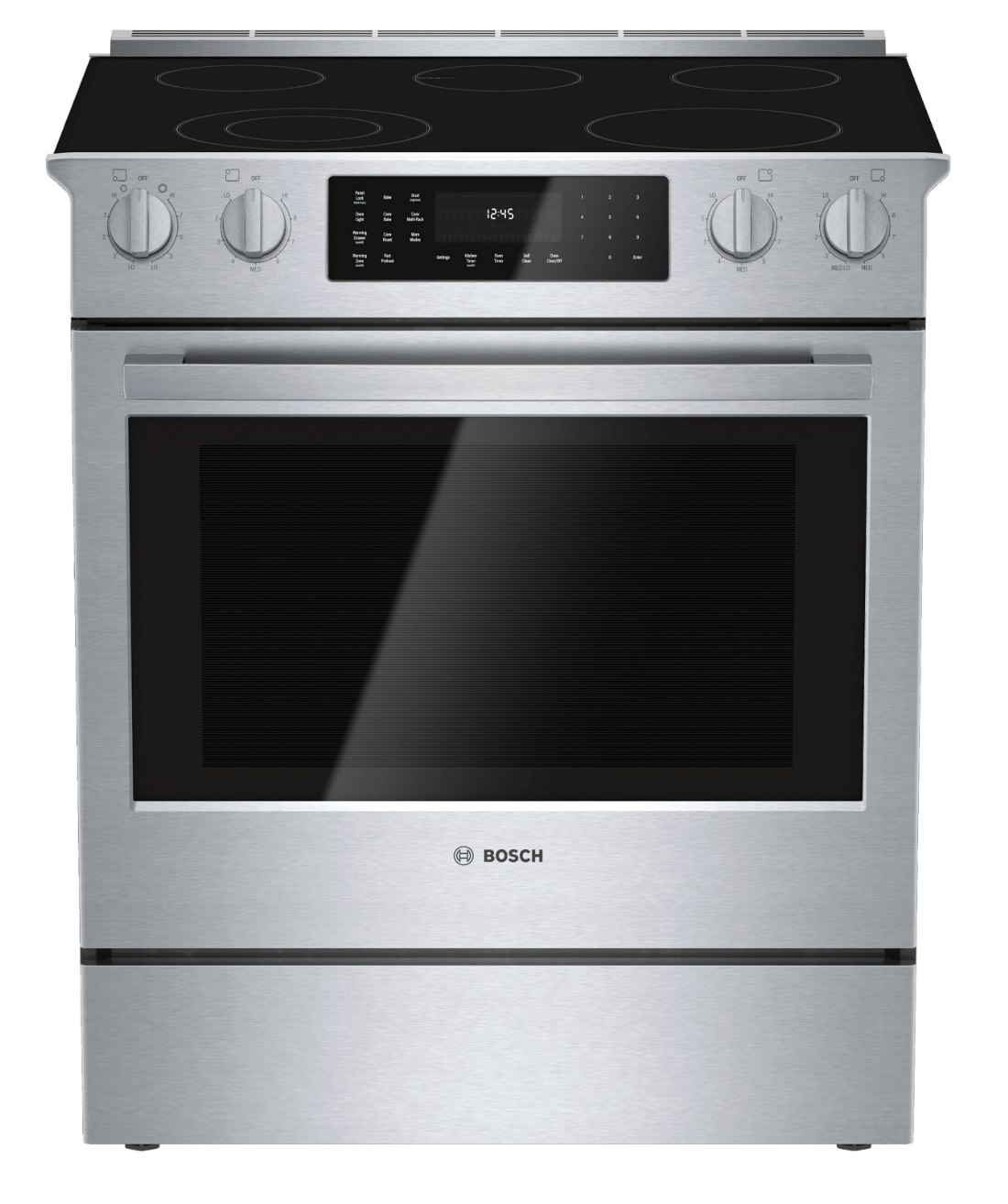 "BOSCH'S 30"" ELECTRIC RANGE  is a well-known slide in range, perfect for kitchen islands."