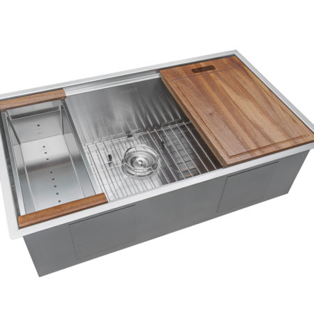 """RUVATI'S 32"""" WORKSTATION LEDGE UNDERMOUNT STAINLESS STEEL SINK  INCLUDES A CUTTING BOARD, utensil holder, and drying rack."""