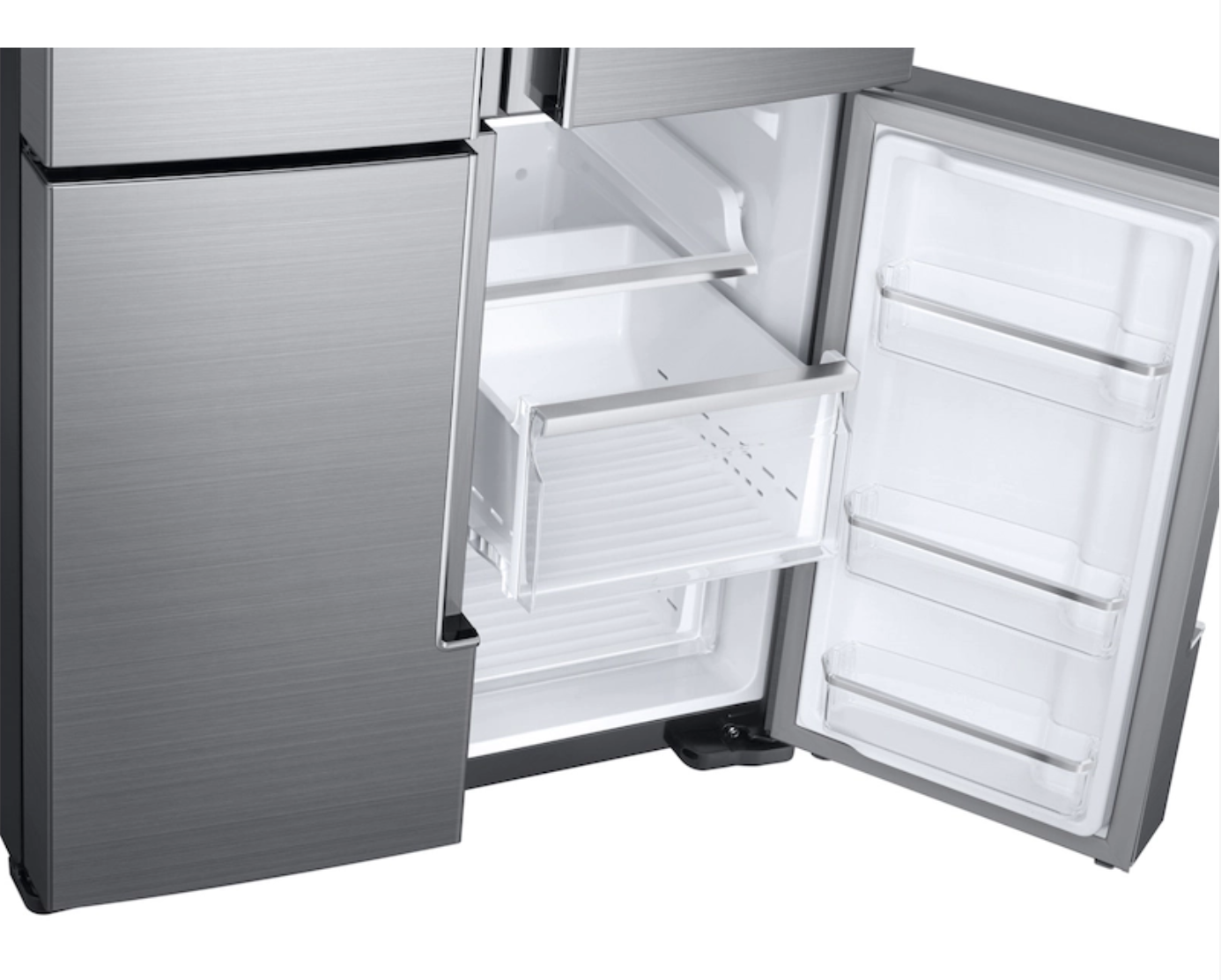 Samsung's 28 cu. ft. 4-door flex fridgerator  has flexzone capabilites as well as adjustable shelves, triple cooling, and a fingerprint resistant finish.