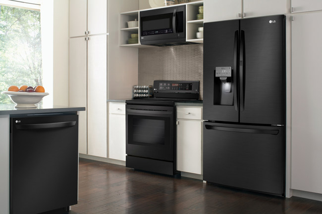 lg's black stainless steel series  contrasts beautifully with white cabinets.
