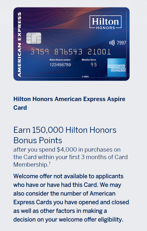Current Hilton Aspire Card sign-up bonus.  Image Source