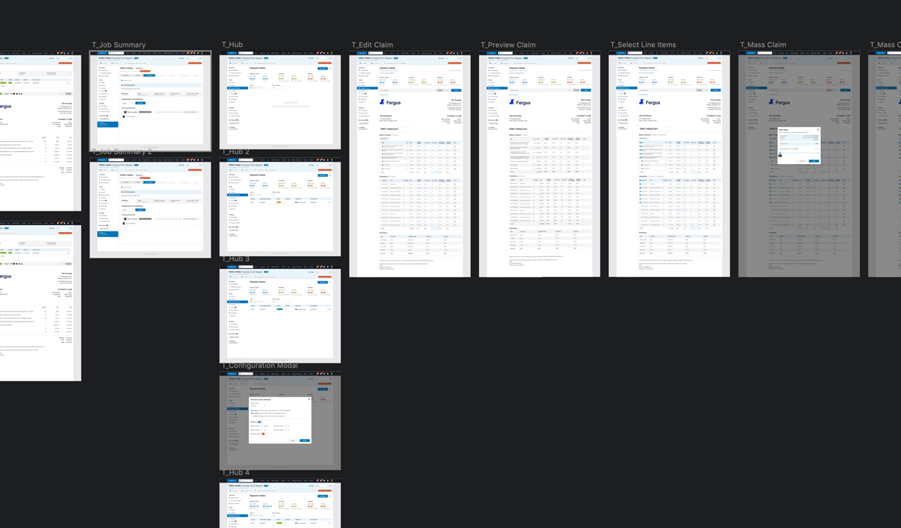 Desktop workflow for our first payment claims prototype
