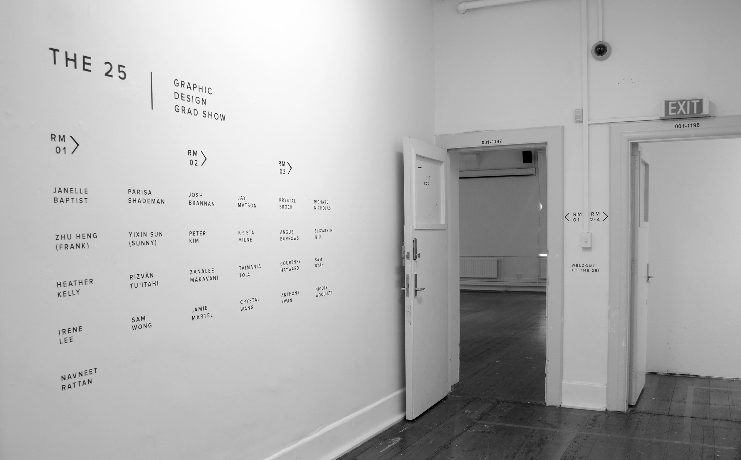Vinyl cut wayfinding, showing the members and which rooms they were displaying in