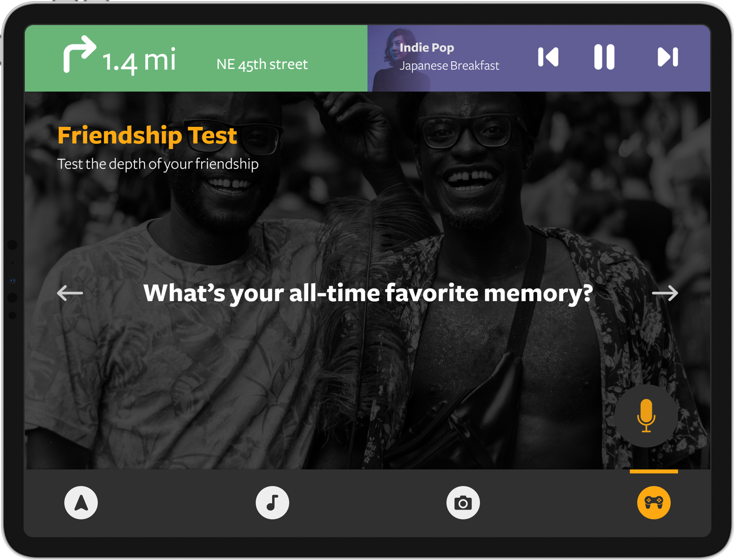 Game screen with 'friendship test' game in progress