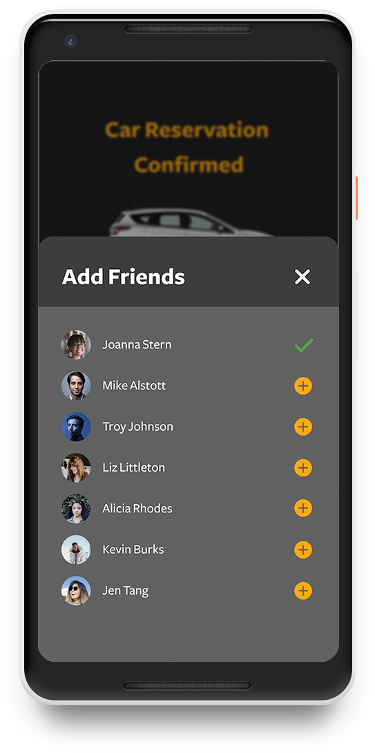 Add friends screen