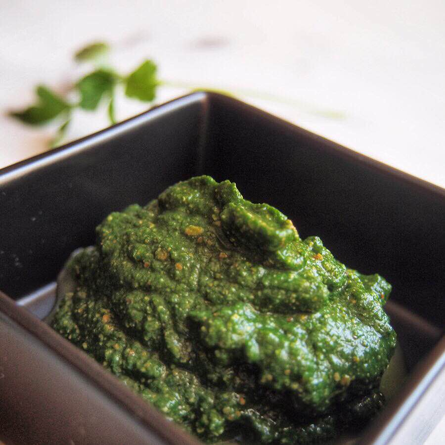 Parsley, spinach, and pistachio puree.