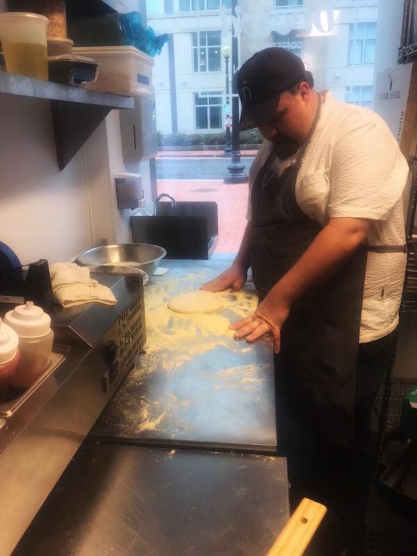 Nicoletta Italian Kitchen Chef with 3 Day Old Fermented Pizza Dough.