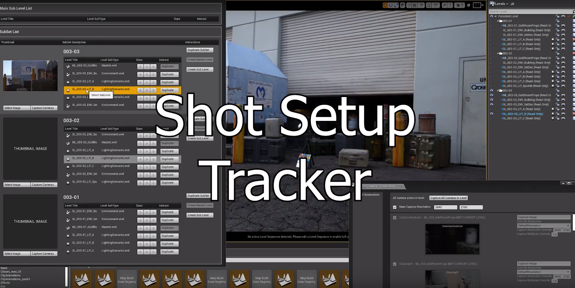 Track your shots from pre-production to post within UE4. We modify this tool at a per project need basis, tracking everything from Shot #, takes, any changes to the set and or lights, characters, and more.