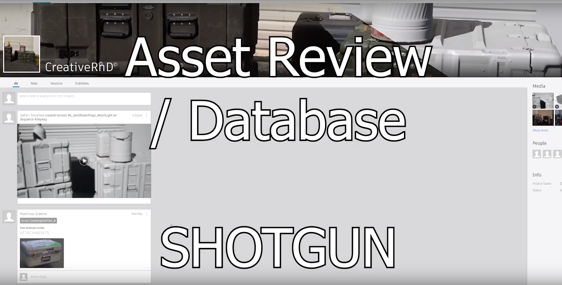 SHOTGUN! A review and production tracking tool-set for VFX, animation and games teams of all sizes. We've adapted it to our game/film pipe.