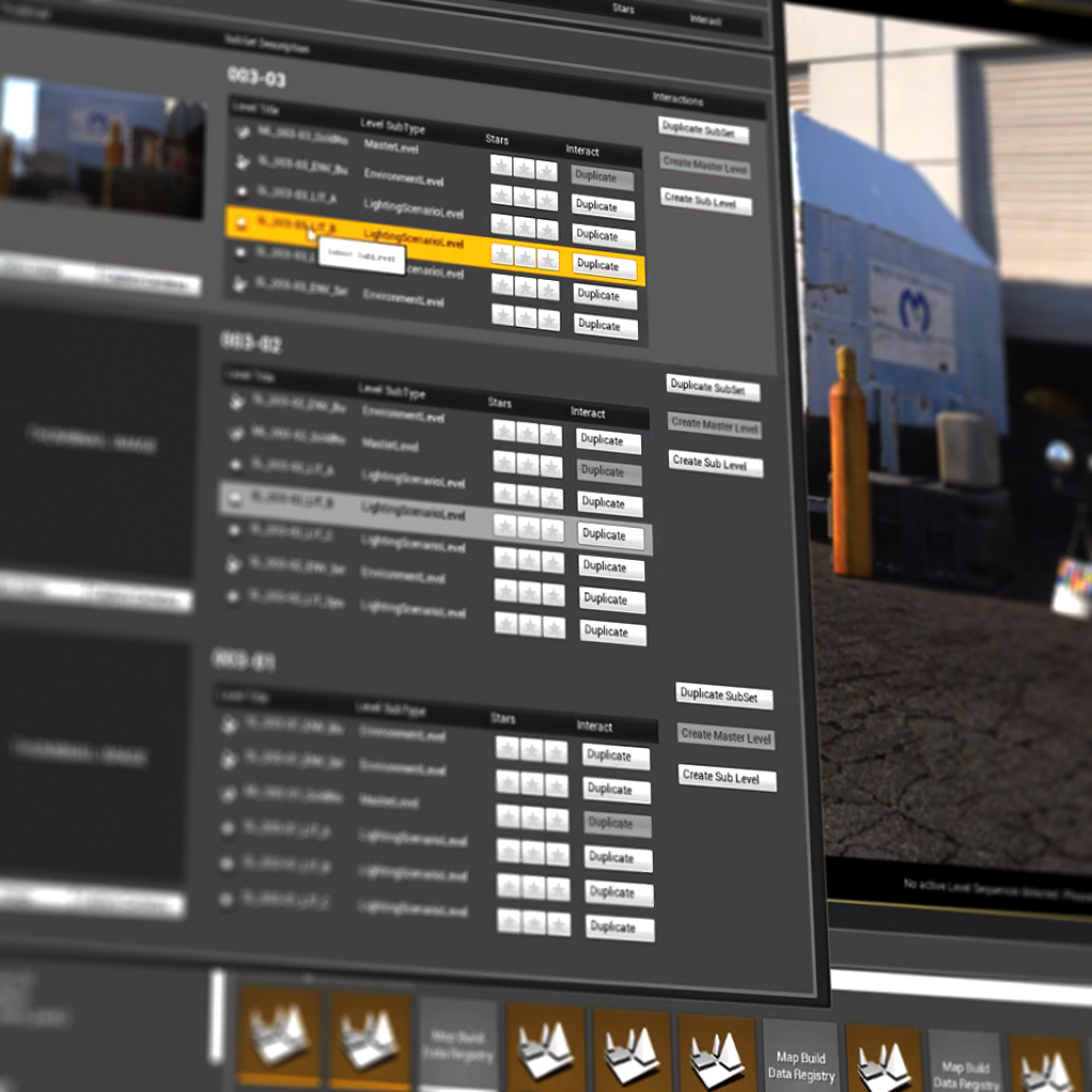 SET TRACKING TOOLS - ——————————————We have built proprietary tools within the Unreal Engine which tracks all changes done to a set. Our app makes it intuitive for any artist to manage. This includes but is not limited to:- Lighting- Prop Placement- Cameras- And More