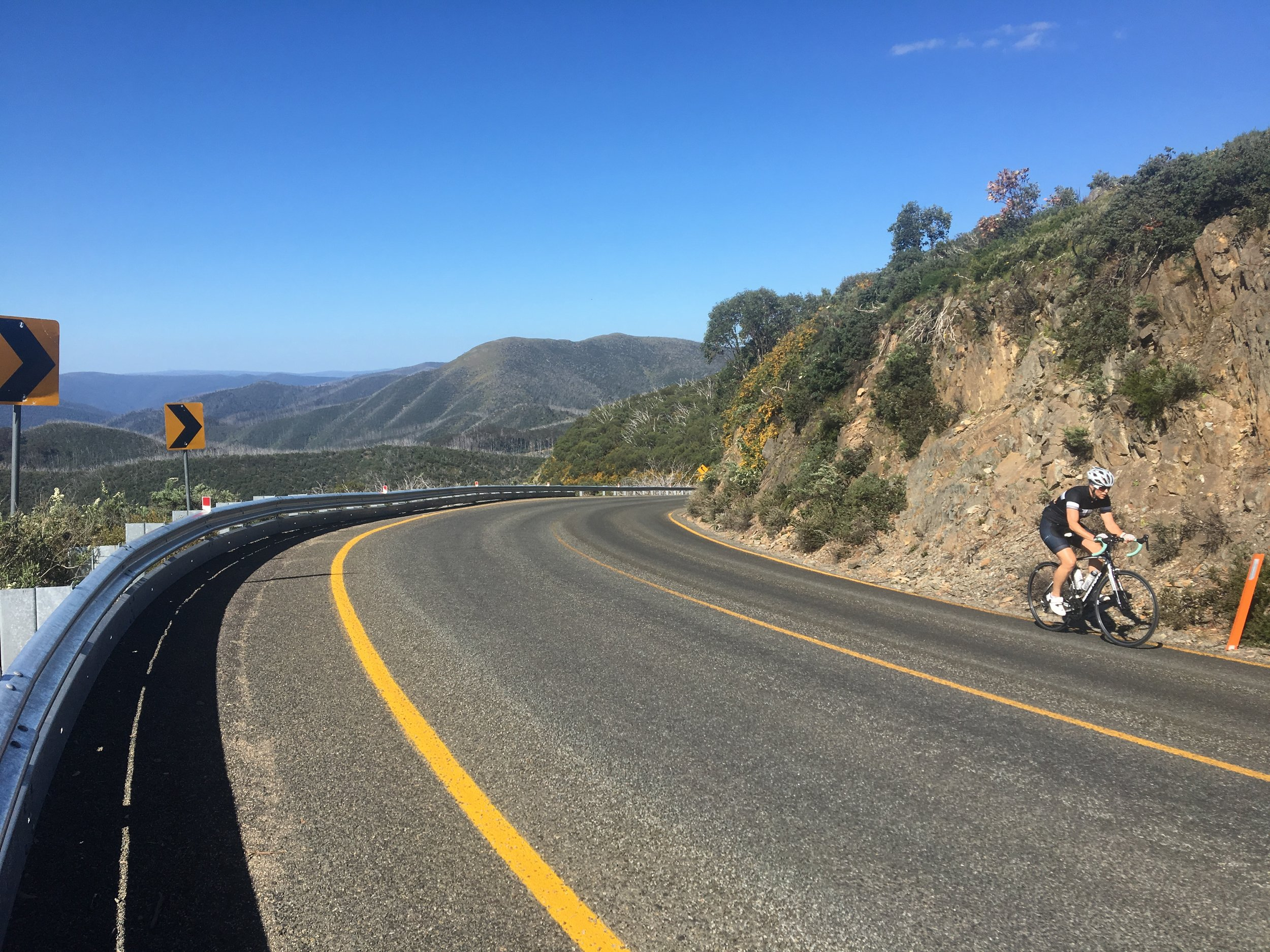 Gail 8km from the top of Mt Hotham