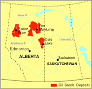 This map shows the the position of the major oil sand deposits in Canada, which mostly are in Alberta.