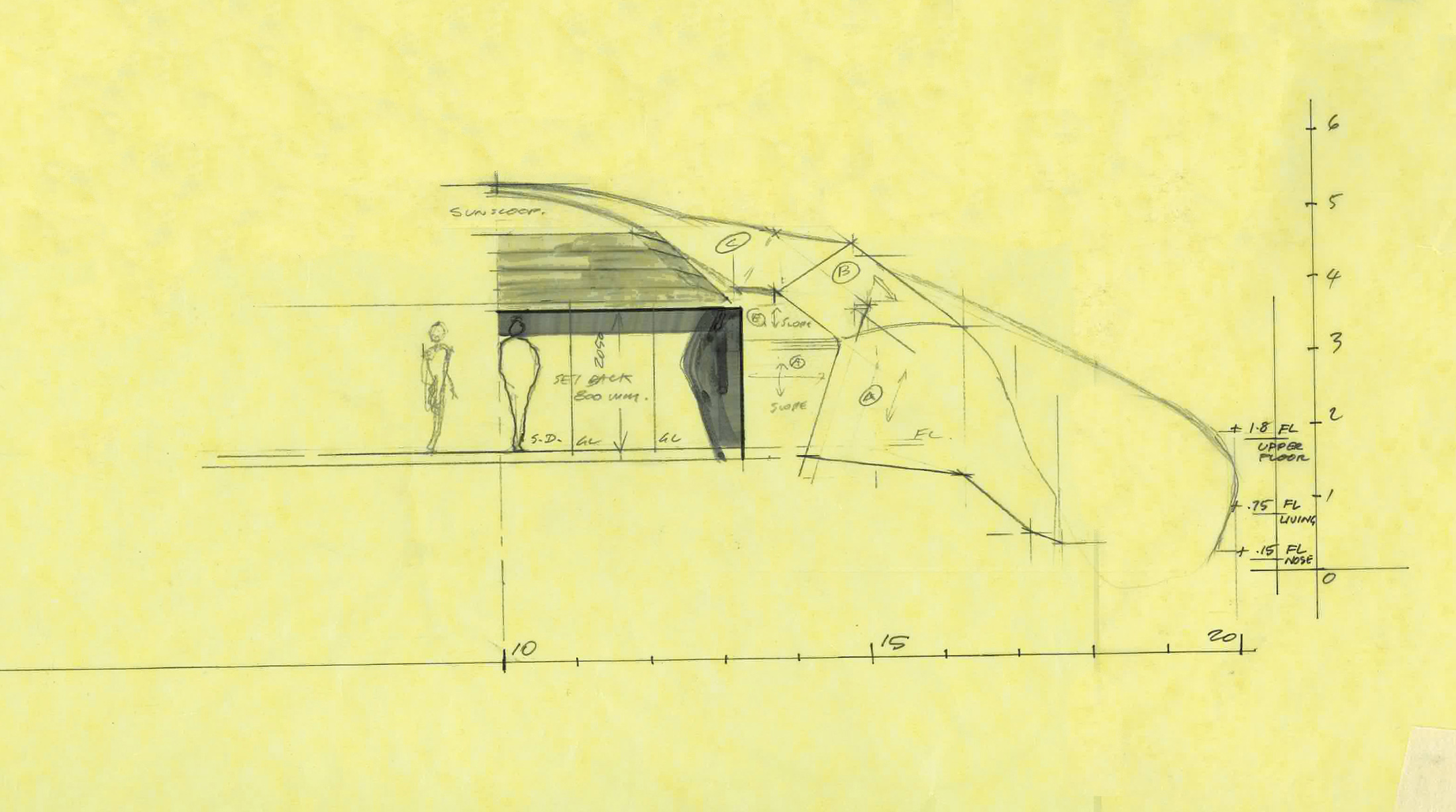 Blowhouse by Paul Morgan Architects - sectional sketch