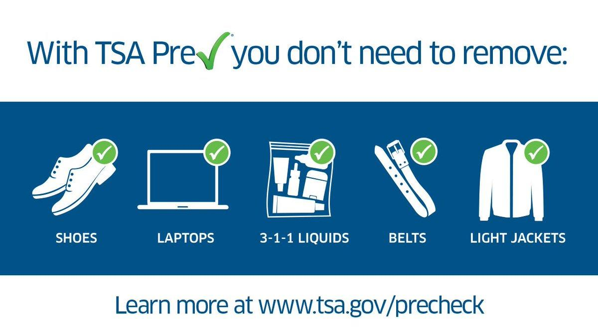 Al ser miembro de TSA Pre✓ no tienes que remover ninguna de estas piezas de ti o tu equipaje.