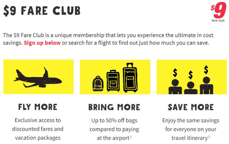 $9 Fare club de spIrit - Esta es la membresía de la aerolínea Spirit y probablemente una de las más competitivas. La misma ofrece descuentos des hasta un 70%-90% en los precios de los vuelos cuando lanzan sus ofertas. Por ejemplo, vuelos desde San Juan a Orlando desde los $16 dólares por vía.
