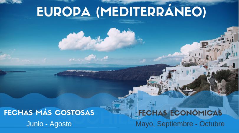En verano los cruceros en Europa son extremadamente costosos. Sin embargo, te permiten explorar zonas hermosas del Mediterráneo. Reservar un crucero fuera de los meses de junio a agosto puede resultar en un ahorro de hasta 50%.