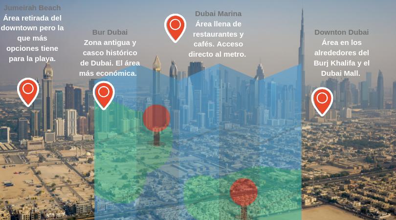 Escoge el área que más te convenga en base a tu presupuesto y a las actividades que tengas planificadas. La dos áreas más céntricas son Downtown Dubai y Dubai Marina.