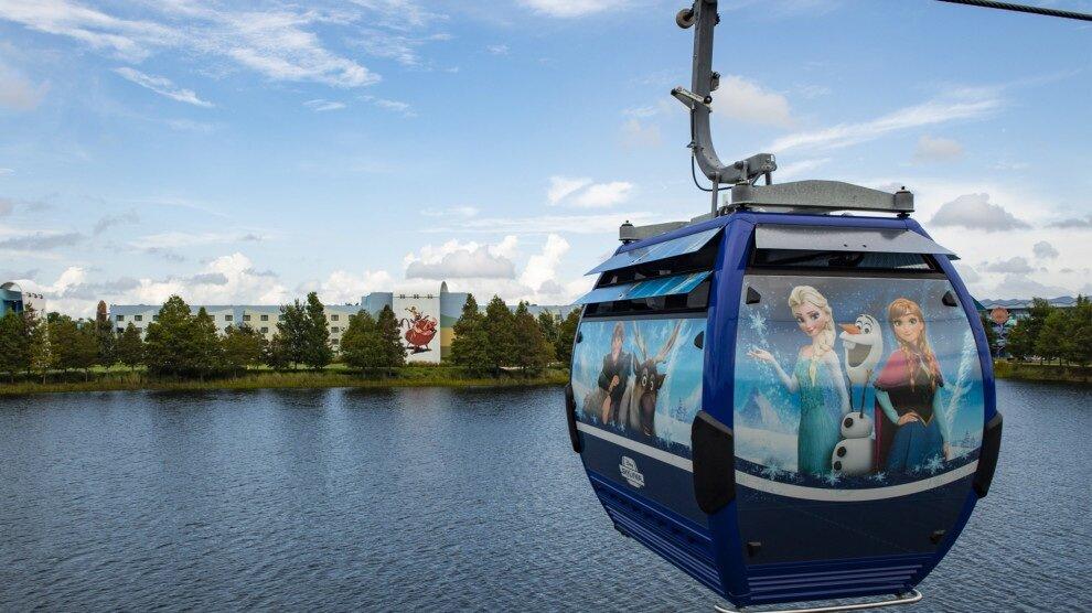 """Disney skyliner - El nuevo Disney Skyliner despegará el 29 de septiembre de 2019. Al igual que una alfombra mágica, el nuevo sistema de transporte gratuito Disney Skyliner, se elevará por encima de las vías fluviales y las áreas boscosas, camino a los parques temáticos y hoteles. Mientras, los asombrados visitantes, con los ojos muy abiertos, disfrutarán de vistas panorámicas nunca antes vistas.Este vuelo, """"el más mágico en la Tierra"""