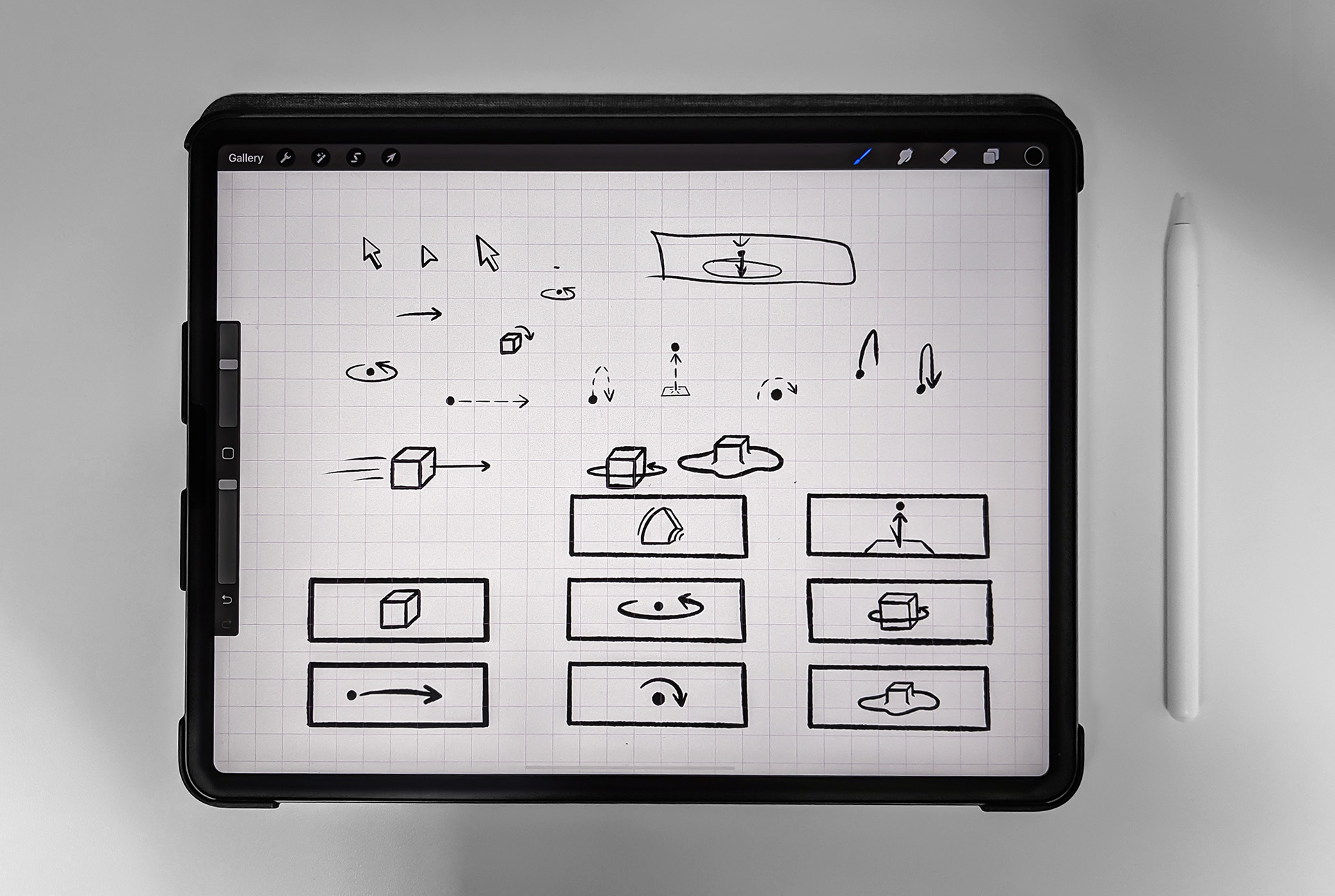 The application UI and still objects were created in Procreate.