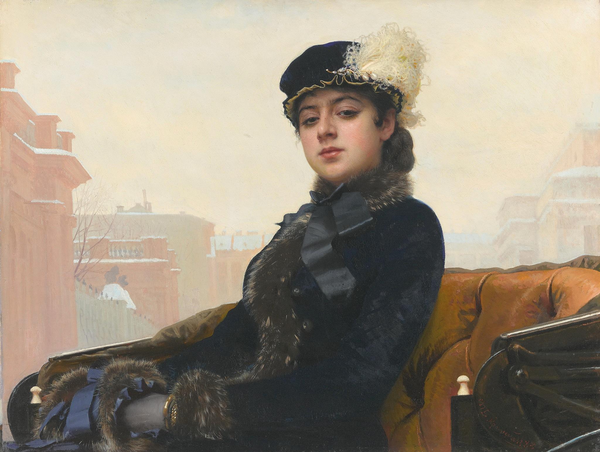"""Ivan Kramskojs """"Porträtt av en okänd kvinna"""" (1883) är en av Rysslands mest kända konstverk. När målningen först avtäcktes blev en del kritiker indignerade och fördömde vad de såg som ett porträtt av en högfärdig och omoralisk kvinna. Någon grund för sina känslor hade de inte, eftersom hon var just okänd. Bilden har flera gånger används som omslagsbild på olika utgåvor av Leo Tolstoys """"Anna Karenina""""."""