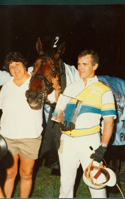 In the winner's circle alongside his caretaker Marcia Hamilton & trainer Jan Nordin.