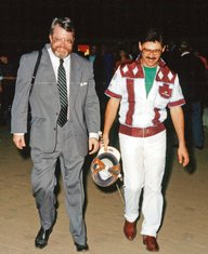 Breeders Crown Photo: Tom Charters & John Campbell at Maywood Park Breeders Crown circa 1984